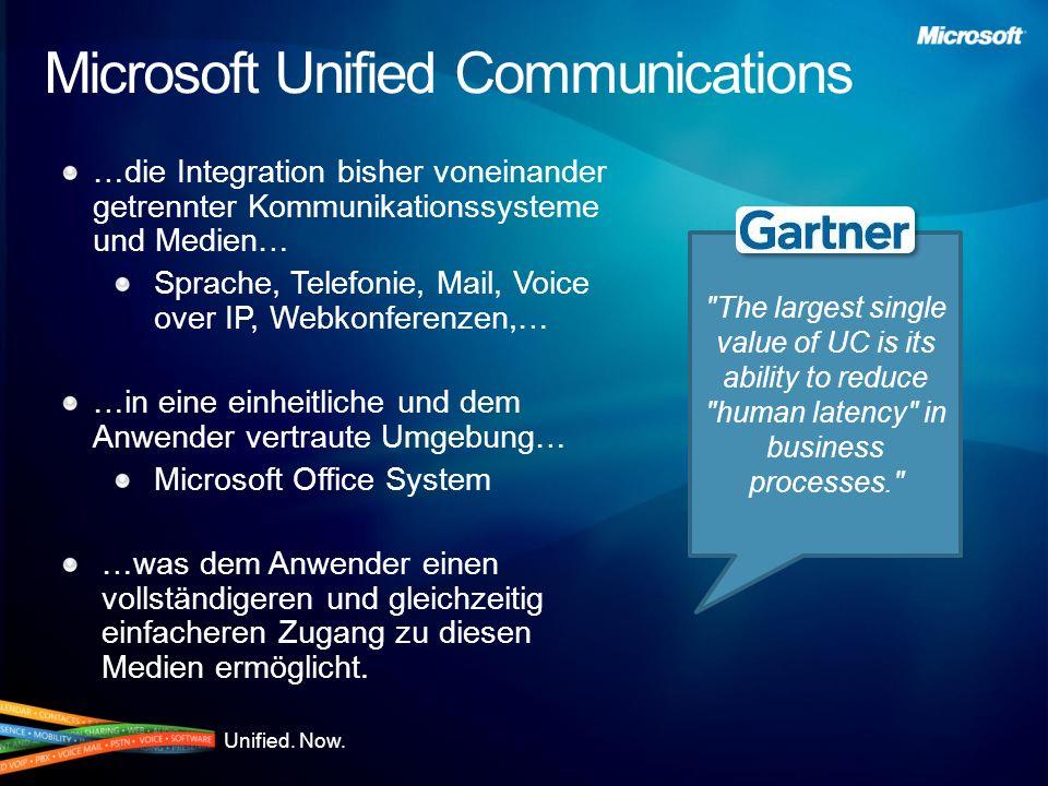 Unified. Now. Microsoft Unified Communications …die Integration bisher voneinander getrennter Kommunikationssysteme und Medien… Sprache, Telefonie, Ma