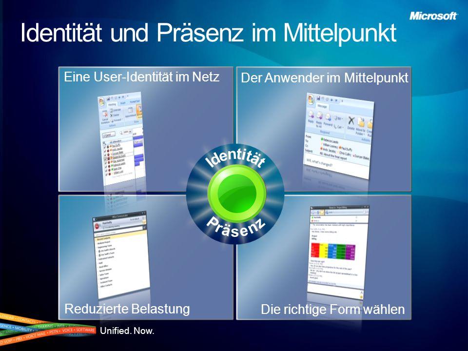 Unified. Now. Die richtige Form wählen Reduzierte Belastung Der Anwender im Mittelpunkt Eine User-Identität im Netz Identität und Präsenz im Mittelpun