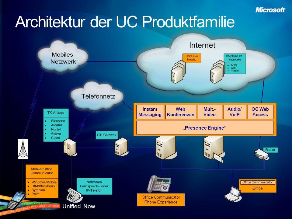Unified. Now Architektur der UC Produktfamilie Instant Messaging Web Konferenzen Mult.- Video Audio/ VoIP OC Web Access Presence Engine Office Communi