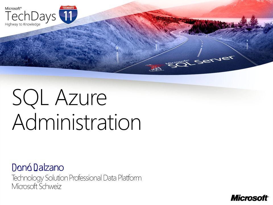 SQL Azure, kurz vorgestellt Features- was SQL Azure derzeit kann, und was noch nicht Plattform- Leistungsmerkmale und Leistungsgrenzen Szenarien- derzeit typische Einsatzmodelle für SQL Azure Werkzeuge DBA Aufgaben in SQL Azure Gegebenes in SQL Azure- woran Sie nicht mehr denken müssen Subscription, Server, DB - die richtige Edition wählen Client-Konfiguration- Libraries und Aliases Security- Datenbank-Accounts und Berechtigungen Import, Export und Backup- die verfügbaren Szenarien Monitoring, Maintenance- woran Sie noch zu denken haben Q&A Agenda