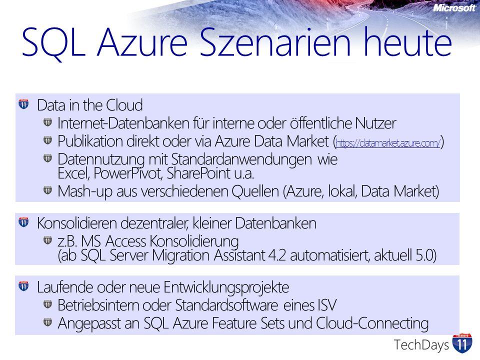 Data in the Cloud Internet-Datenbanken für interne oder öffentliche Nutzer Publikation direkt oder via Azure Data Market ( https://datamarket.azure.co