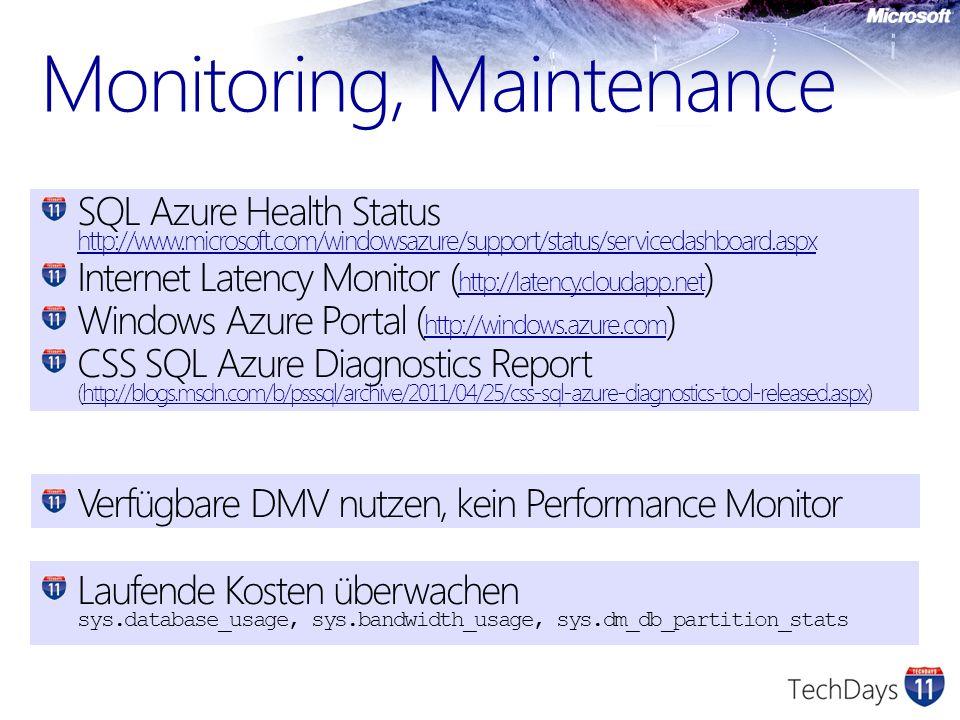 SQL Azure Health Status http://www.microsoft.com/windowsazure/support/status/servicedashboard.aspx http://www.microsoft.com/windowsazure/support/statu