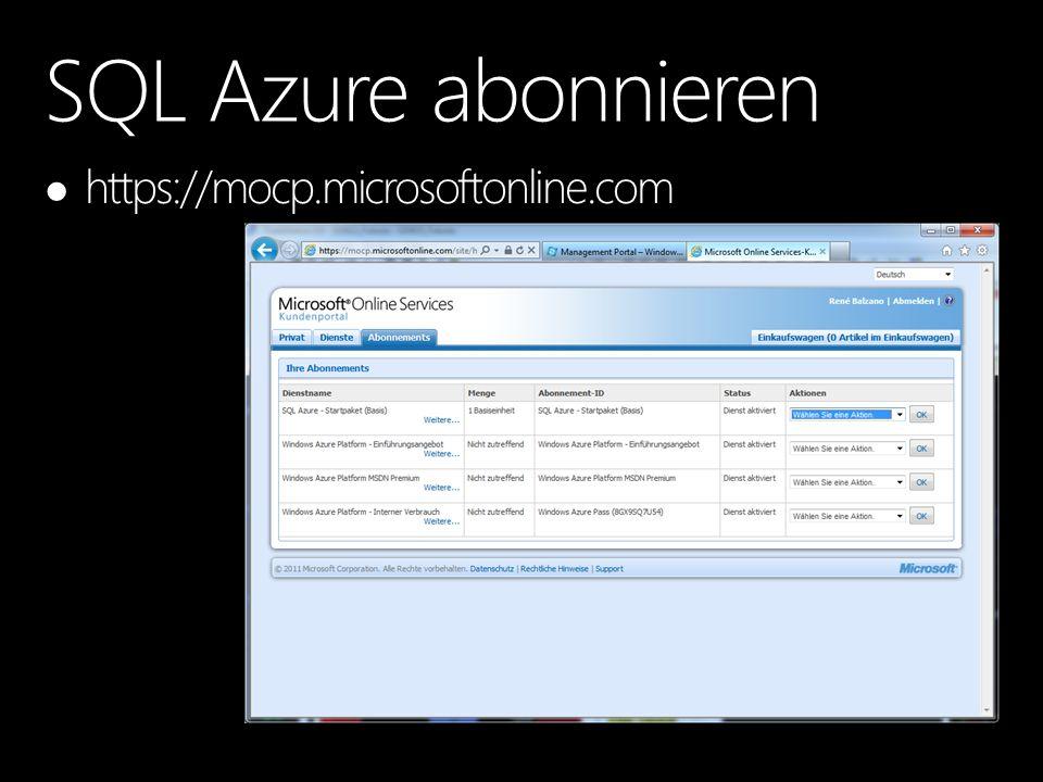 Jede Tabelle muss einen Clustering Key haben (CREATE geht noch ohne, INSERT aber nicht mehr) Für jede Datenbank sind beide Snapshot-Optionen eingeschaltet READ_COMMITTED_SNAPSHOT ALLOW_SNAPSHOT_ISOLATION Collation jeder SQL Azure Datenbank SQL_LATIN1_GENERAL_CP1_CI_AS (nur pro Feld änderbar, nicht pro Datenbank/Server) SQL Azure DB Design