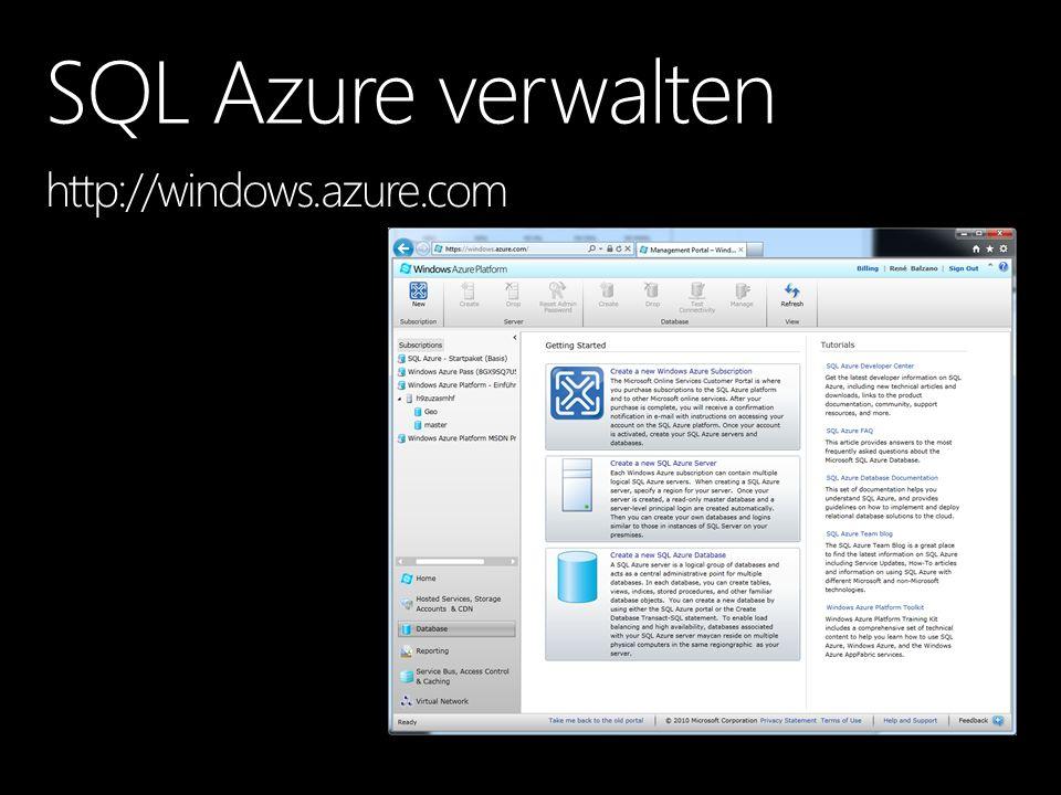 SQL Azure Health Status http://www.microsoft.com/windowsazure/support/status/servicedashboard.aspx http://www.microsoft.com/windowsazure/support/status/servicedashboard.aspx Internet Latency Monitor ( http://latency.cloudapp.net ) http://latency.cloudapp.net Windows Azure Portal ( http://windows.azure.com ) http://windows.azure.com CSS SQL Azure Diagnostics Report (http://blogs.msdn.com/b/psssql/archive/2011/04/25/css-sql-azure-diagnostics-tool-released.aspx)http://blogs.msdn.com/b/psssql/archive/2011/04/25/css-sql-azure-diagnostics-tool-released.aspx Verfügbare DMV nutzen, kein Performance Monitor Laufende Kosten überwachen sys.database_usage, sys.bandwidth_usage, sys.dm_db_partition_stats Monitoring, Maintenance