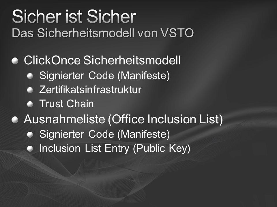 ClickOnce Sicherheitsmodell Signierter Code (Manifeste) Zertifikatsinfrastruktur Trust Chain Ausnahmeliste (Office Inclusion List) Signierter Code (Manifeste) Inclusion List Entry (Public Key)