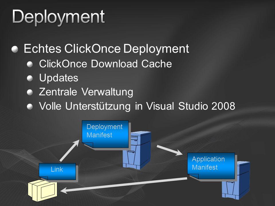 Echtes ClickOnce Deployment ClickOnce Download Cache Updates Zentrale Verwaltung Volle Unterstützung in Visual Studio 2008 Deployment Manifest Application Manifest Link