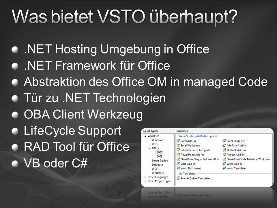 .NET Hosting Umgebung in Office.NET Framework für Office Abstraktion des Office OM in managed Code Tür zu.NET Technologien OBA Client Werkzeug LifeCyc
