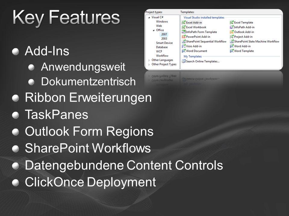 Add-Ins Anwendungsweit Dokumentzentrisch Ribbon Erweiterungen TaskPanes Outlook Form Regions SharePoint Workflows Datengebundene Content Controls ClickOnce Deployment