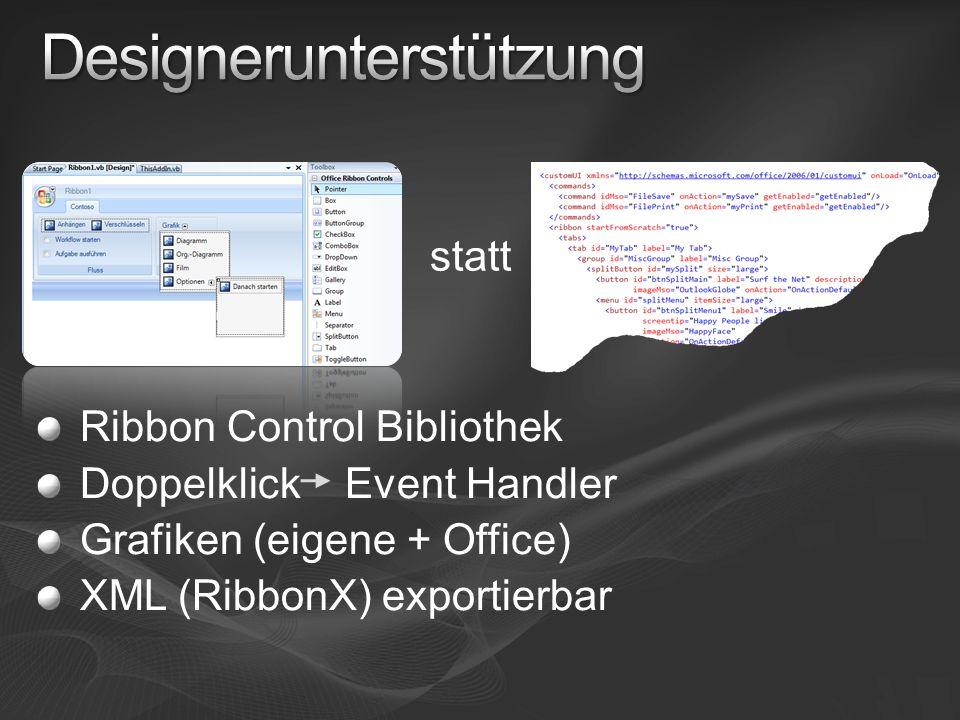 Ribbon Control Bibliothek Doppelklick Event Handler Grafiken (eigene + Office) XML (RibbonX) exportierbar statt