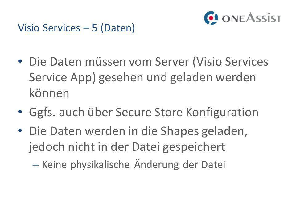 Visio Services – 5 (Daten) Die Daten müssen vom Server (Visio Services Service App) gesehen und geladen werden können Ggfs.