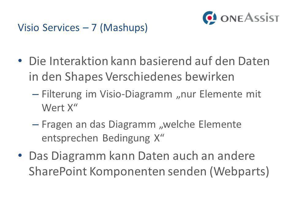 Visio Services – 7 (Mashups) Die Interaktion kann basierend auf den Daten in den Shapes Verschiedenes bewirken – Filterung im Visio-Diagramm nur Elemente mit Wert X – Fragen an das Diagramm welche Elemente entsprechen Bedingung X Das Diagramm kann Daten auch an andere SharePoint Komponenten senden (Webparts)