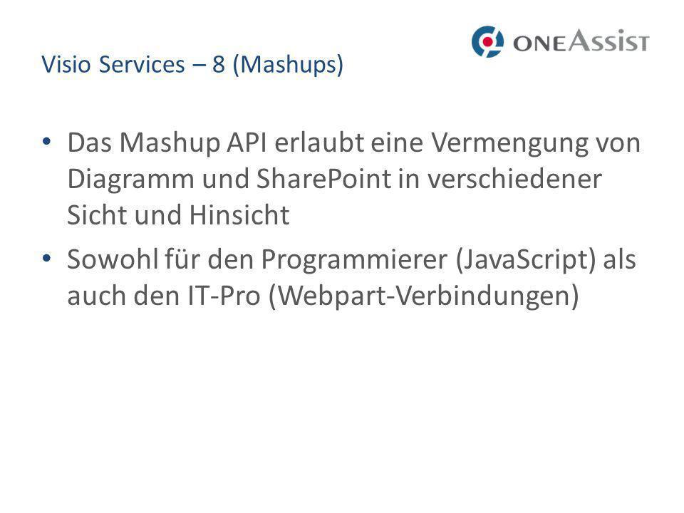 Visio Services – 8 (Mashups) Das Mashup API erlaubt eine Vermengung von Diagramm und SharePoint in verschiedener Sicht und Hinsicht Sowohl für den Programmierer (JavaScript) als auch den IT-Pro (Webpart-Verbindungen)