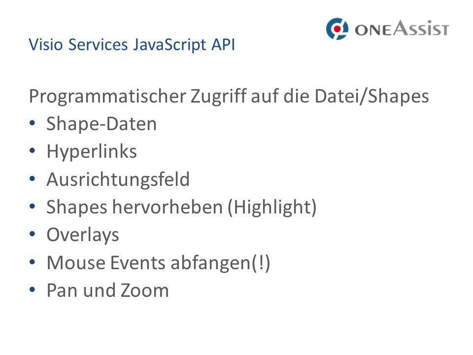 Visio Services JavaScript API Programmatischer Zugriff auf die Datei/Shapes Shape-Daten Hyperlinks Ausrichtungsfeld Shapes hervorheben (Highlight) Ove