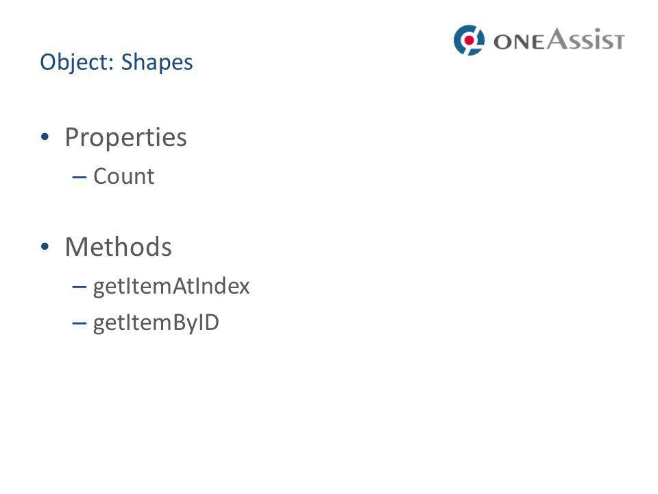 Object: Shapes Properties – Count Methods – getItemAtIndex – getItemByID