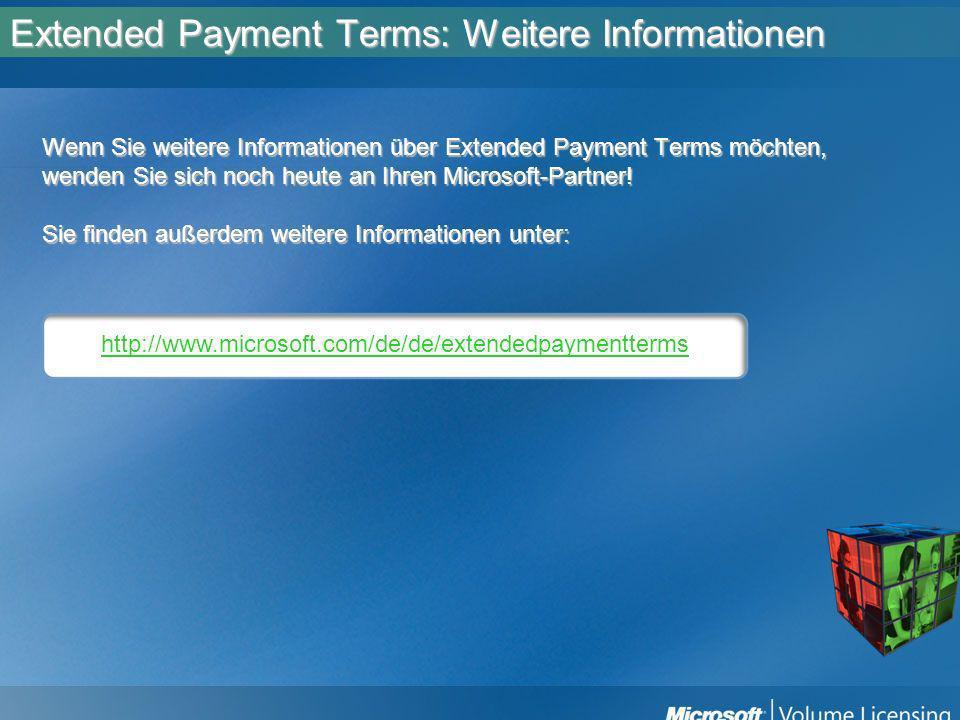 5 Extended Payment Terms: Danke Microsoft stellt diese Materialien ausschließlich zu Informations- und Marketingzwecken zur Verfügung.