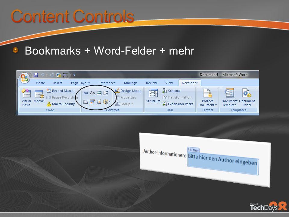 Bookmarks + Word-Felder + mehr