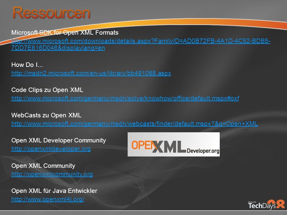 Microsoft SDK for Open XML Formats http://www.microsoft.com/downloads/details.aspx?FamilyID=AD0B72FB-4A1D-4C52-BDB5- 7DD7E816D046&displaylang=en How D