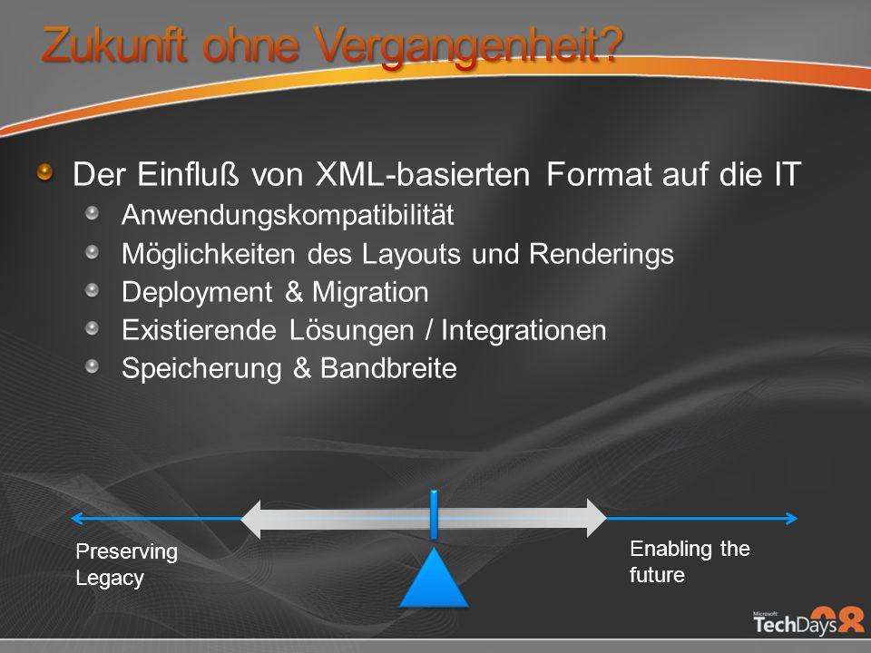 Es genügt nicht, die Zukunft der Interoperabilität zu planen und die Bedeutung existierender Dokumente zu ignorieren XML basierte Formate müssen für die Zukunft gerüstet sein, aber auch die Eingliederung existierender Dokumente gewährleisten
