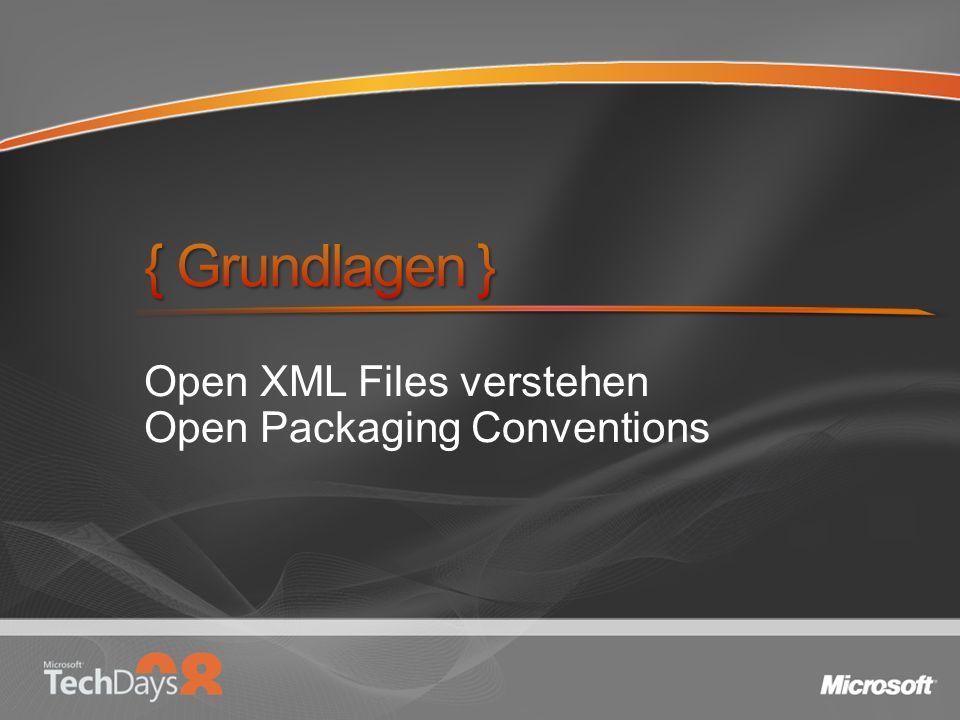 Typisierte Objekte WordprocessingDocument SpreadsheetDocument PresentationDocument Objekthierarchie Deckt Open Packaging Convention ab High level API für Container Relationships & Content Types Doc-level Manipulation immer noch XML