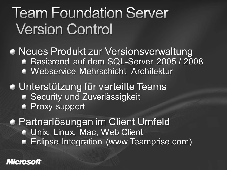 Benutzer Version control users: 2,991 Version control Files/Folders: 148,258,991/34,914,899 Total compressed file sizes: 1639 GB Workspaces: 5,275 Shelvesets: 18,165