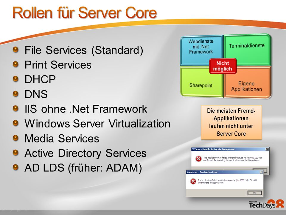File Services (Standard) Print Services DHCP DNS IIS ohne.Net Framework Windows Server Virtualization Media Services Active Directory Services AD LDS (früher: ADAM) Die meisten Fremd- Applikationen laufen nicht unter Server Core