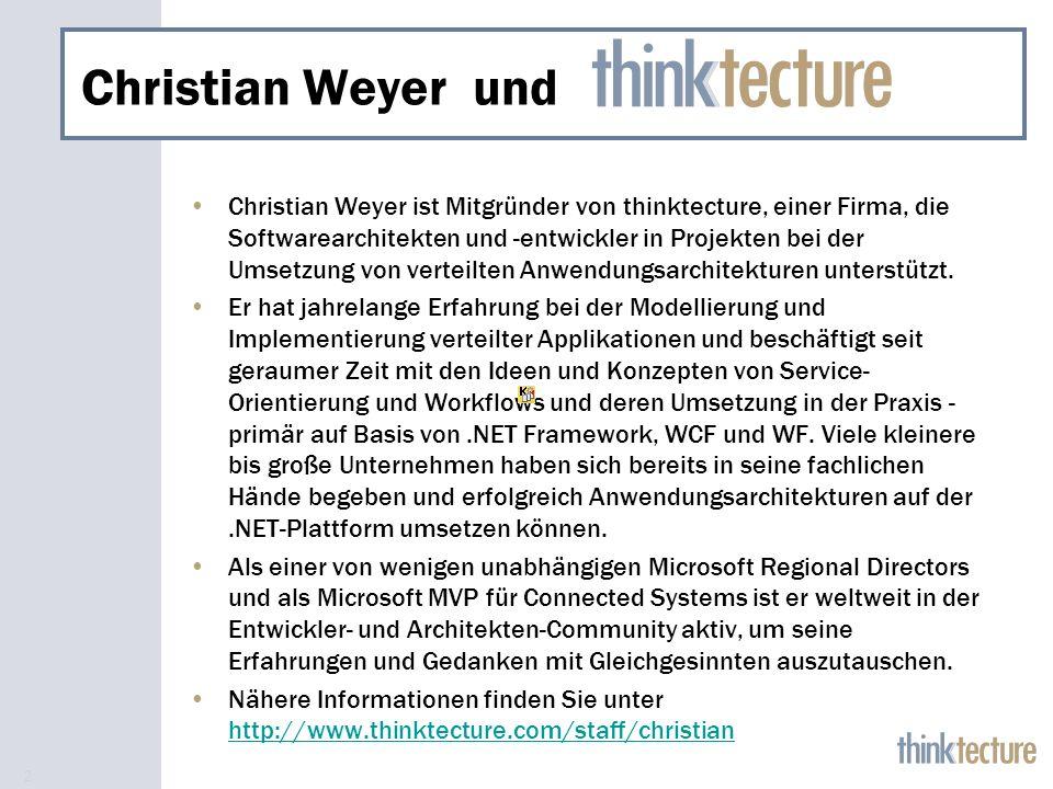 2 Christian Weyer und Christian Weyer ist Mitgründer von thinktecture, einer Firma, die Softwarearchitekten und -entwickler in Projekten bei der Umsetzung von verteilten Anwendungsarchitekturen unterstützt.