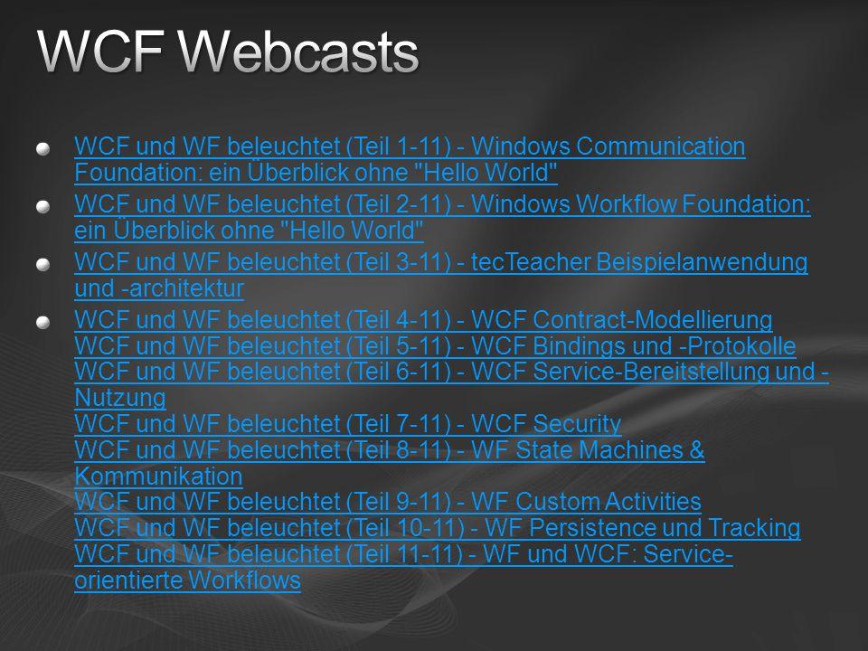 WCF und WF beleuchtet (Teil 1-11) - Windows Communication Foundation: ein Überblick ohne Hello World WCF und WF beleuchtet (Teil 2-11) - Windows Workflow Foundation: ein Überblick ohne Hello World WCF und WF beleuchtet (Teil 3-11) - tecTeacher Beispielanwendung und -architektur WCF und WF beleuchtet (Teil 4-11) - WCF Contract-Modellierung WCF und WF beleuchtet (Teil 5-11) - WCF Bindings und -Protokolle WCF und WF beleuchtet (Teil 6-11) - WCF Service-Bereitstellung und - Nutzung WCF und WF beleuchtet (Teil 7-11) - WCF Security WCF und WF beleuchtet (Teil 8-11) - WF State Machines & Kommunikation WCF und WF beleuchtet (Teil 9-11) - WF Custom Activities WCF und WF beleuchtet (Teil 10-11) - WF Persistence und Tracking WCF und WF beleuchtet (Teil 11-11) - WF und WCF: Service- orientierte Workflows