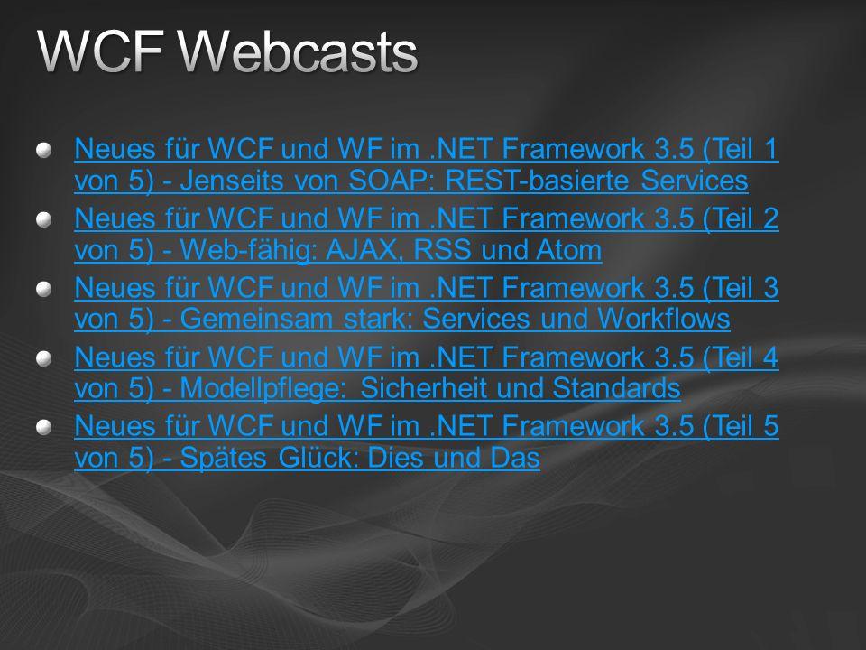 Neues für WCF und WF im.NET Framework 3.5 (Teil 1 von 5) - Jenseits von SOAP: REST-basierte Services Neues für WCF und WF im.NET Framework 3.5 (Teil 2 von 5) - Web-fähig: AJAX, RSS und Atom Neues für WCF und WF im.NET Framework 3.5 (Teil 3 von 5) - Gemeinsam stark: Services und Workflows Neues für WCF und WF im.NET Framework 3.5 (Teil 4 von 5) - Modellpflege: Sicherheit und Standards Neues für WCF und WF im.NET Framework 3.5 (Teil 5 von 5) - Spätes Glück: Dies und Das