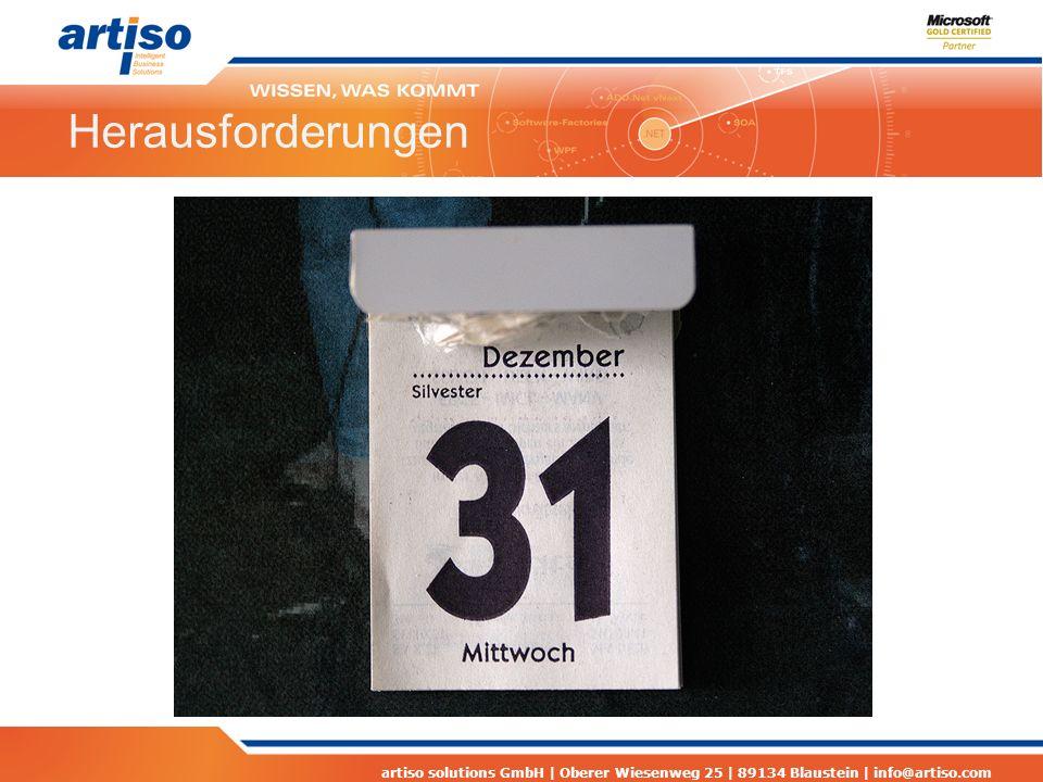 artiso solutions GmbH | Oberer Wiesenweg 25 | 89134 Blaustein | info@artiso.com Herausforderungen