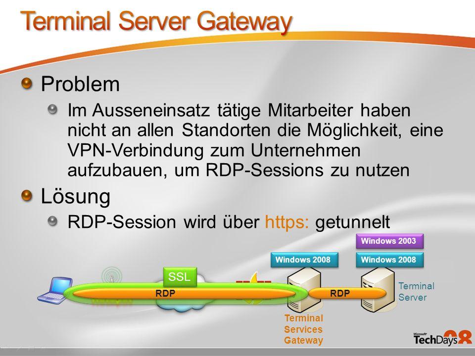 Problem Im Ausseneinsatz tätige Mitarbeiter haben nicht an allen Standorten die Möglichkeit, eine VPN-Verbindung zum Unternehmen aufzubauen, um RDP-Se