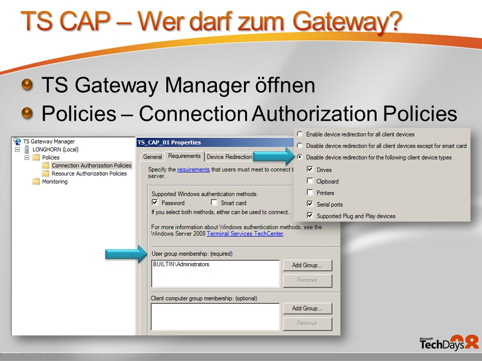TS Gateway Manager öffnen Policies – Connection Authorization Policies