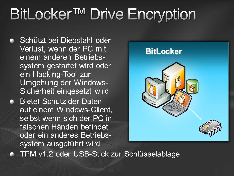 Schützt bei Diebstahl oder Verlust, wenn der PC mit einem anderen Betriebs- system gestartet wird oder ein Hacking-Tool zur Umgehung der Windows- Sich