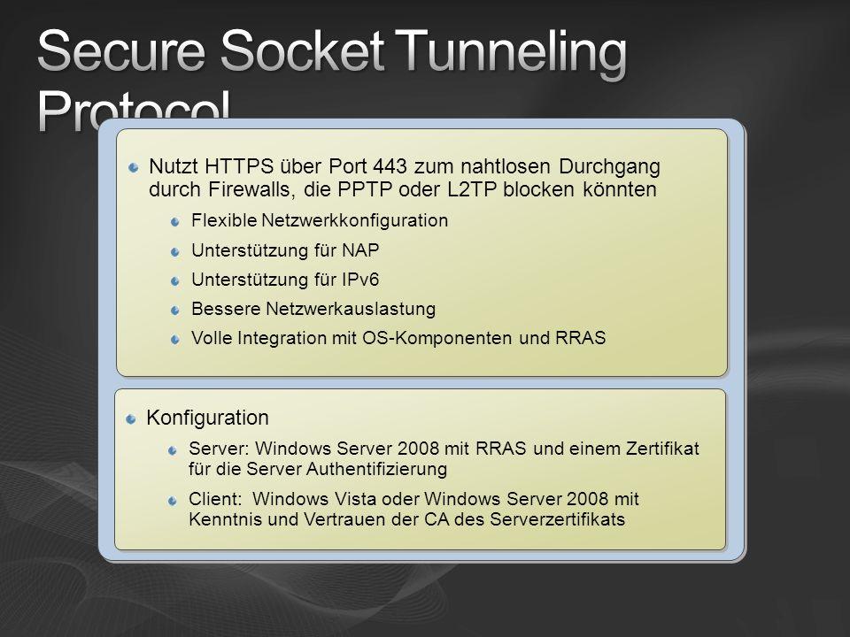 Nutzt HTTPS über Port 443 zum nahtlosen Durchgang durch Firewalls, die PPTP oder L2TP blocken könnten Flexible Netzwerkkonfiguration Unterstützung für