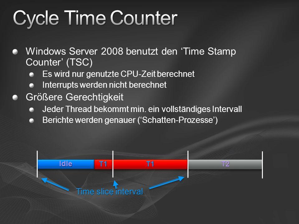 Windows Server 2008 benutzt den Time Stamp Counter (TSC) Es wird nur genutzte CPU-Zeit berechnet Interrupts werden nicht berechnet Größere Gerechtigke