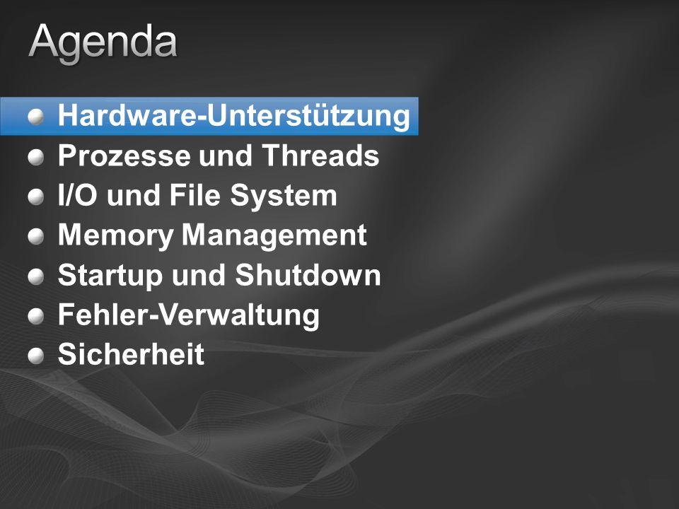 Hardware-Unterstützung Prozesse und Threads I/O und File System Memory Management Startup und Shutdown Fehler-Verwaltung Sicherheit