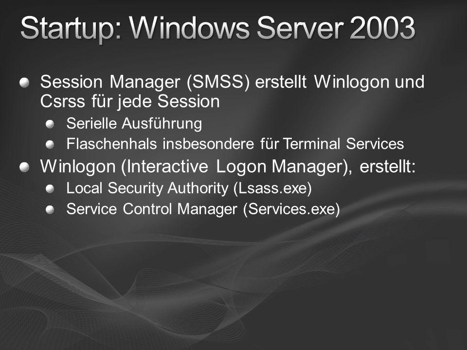 Session Manager (SMSS) erstellt Winlogon und Csrss für jede Session Serielle Ausführung Flaschenhals insbesondere für Terminal Services Winlogon (Inte