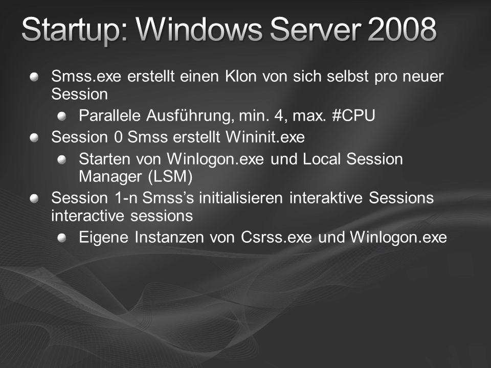 Smss.exe erstellt einen Klon von sich selbst pro neuer Session Parallele Ausführung, min. 4, max. #CPU Session 0 Smss erstellt Wininit.exe Starten von