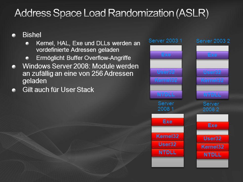 Bishel Kernel, HAL, Exe und DLLs werden an vordefinierte Adressen geladen Ermöglicht Buffer Overflow-Angriffe Windows Server 2008: Module werden an zu