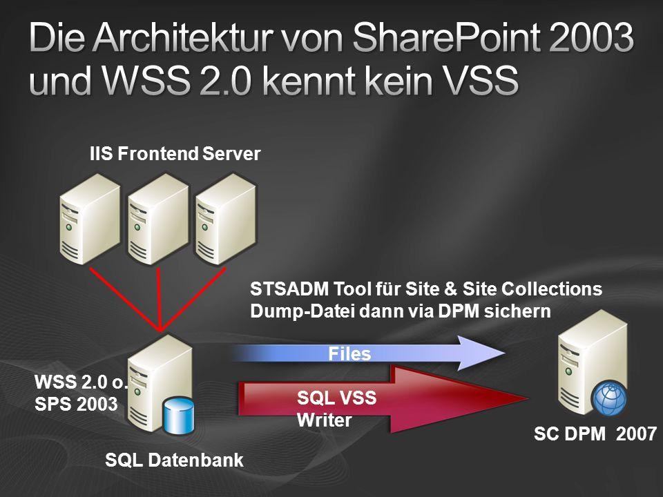 IIS Frontend Server SQL Datenbank WSS 2.0 o.