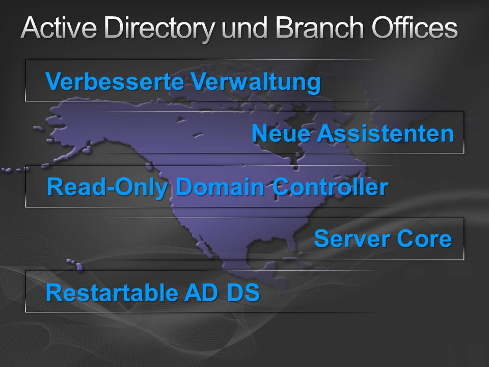 Verbesserte Verwaltung Neue Assistenten Read-Only Domain Controller Server Core Restartable AD DS