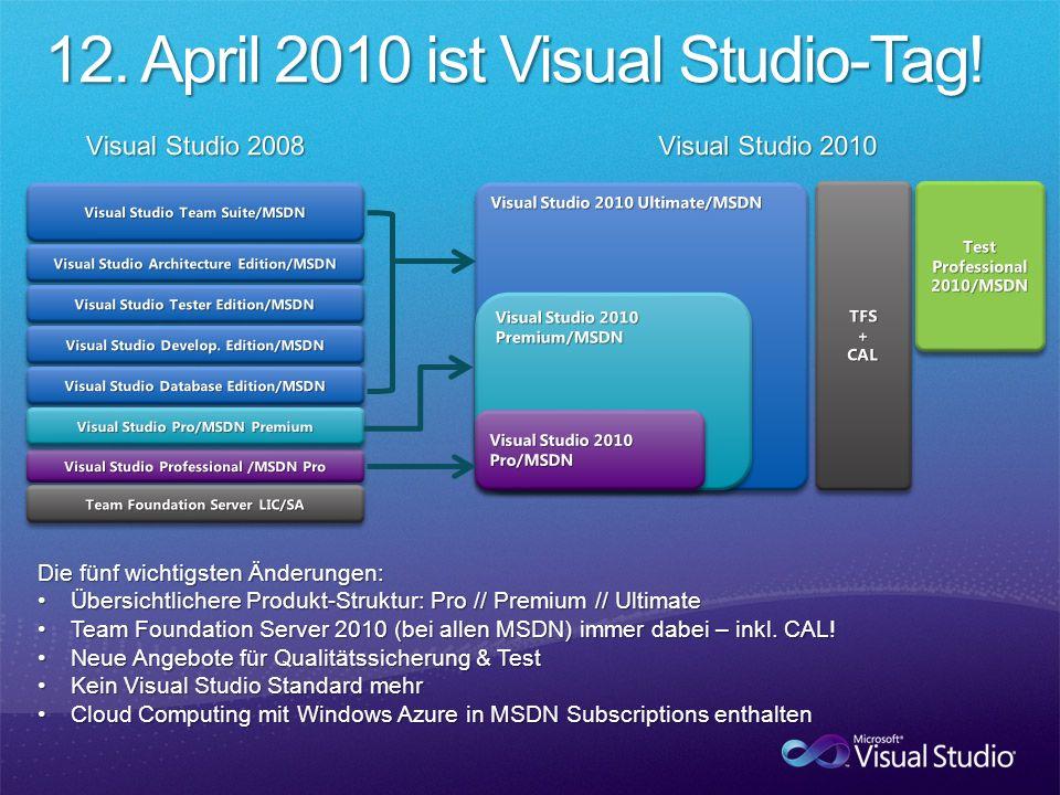 Die fünf wichtigsten Änderungen: Übersichtlichere Produkt-Struktur: Pro // Premium // UltimateÜbersichtlichere Produkt-Struktur: Pro // Premium // Ultimate Team Foundation Server 2010 (bei allen MSDN) immer dabei – inkl.