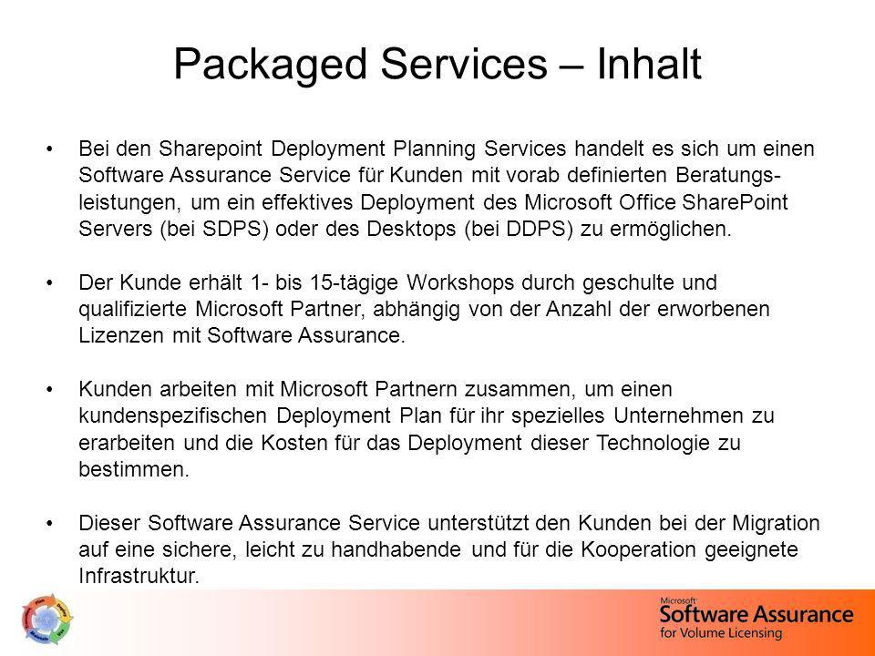 Packaged Services – Inhalt Bei den Sharepoint Deployment Planning Services handelt es sich um einen Software Assurance Service für Kunden mit vorab de