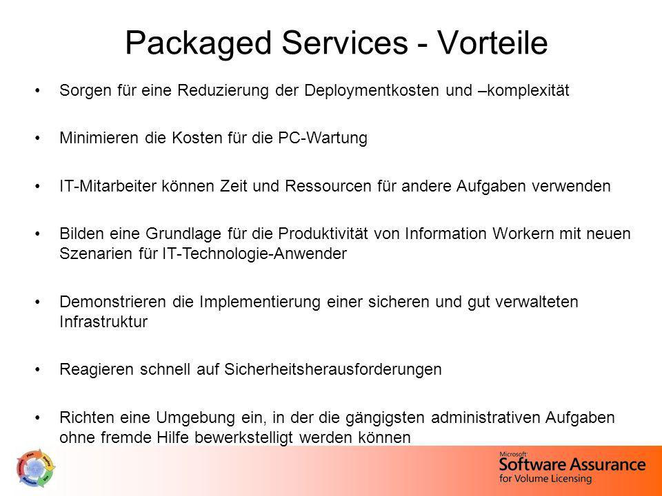 Packaged Services - Vorteile Sorgen für eine Reduzierung der Deploymentkosten und –komplexität Minimieren die Kosten für die PC-Wartung IT-Mitarbeiter