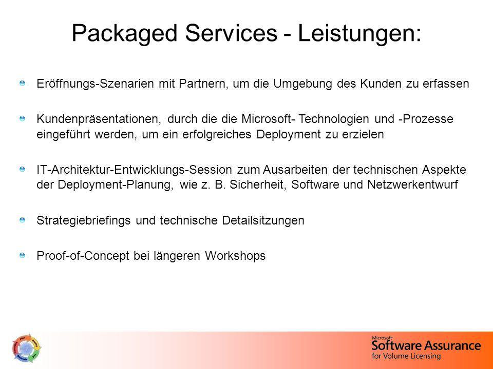 Packaged Services - Leistungen: Eröffnungs-Szenarien mit Partnern, um die Umgebung des Kunden zu erfassen Kundenpräsentationen, durch die die Microsof