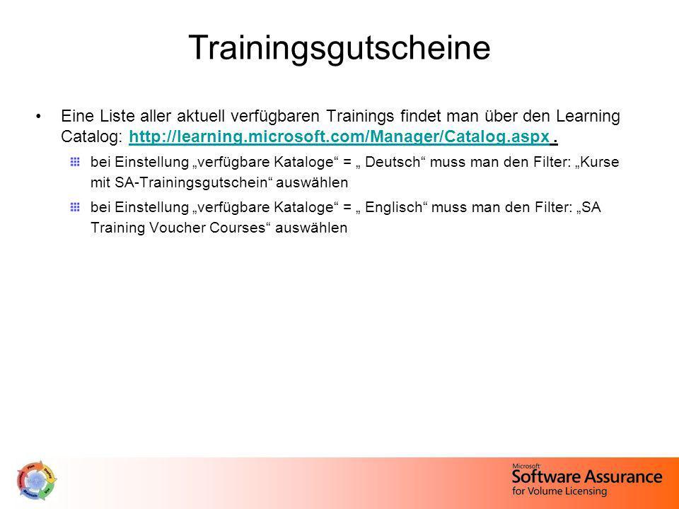 Trainingsgutscheine Eine Liste aller aktuell verfügbaren Trainings findet man über den Learning Catalog: http://learning.microsoft.com/Manager/Catalog