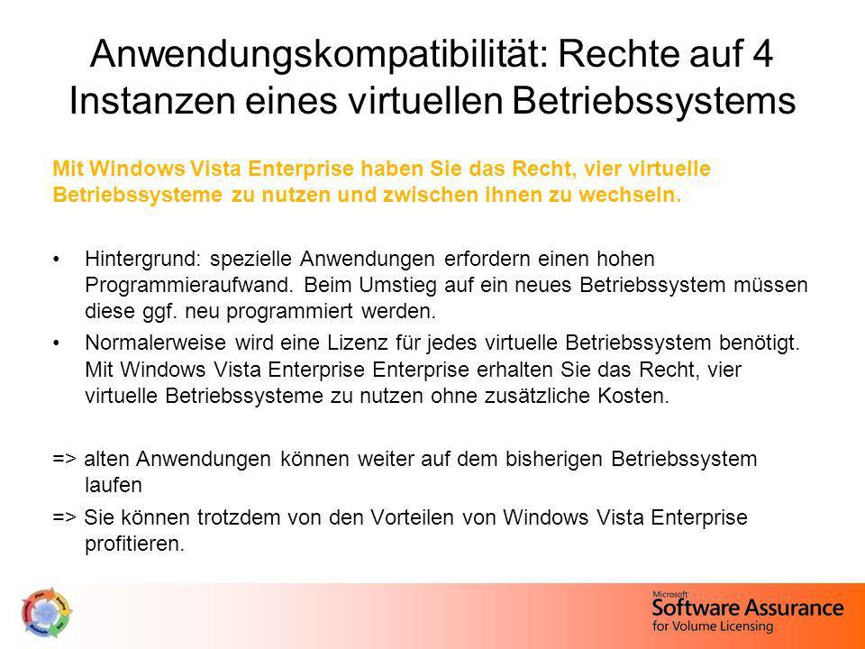 Anwendungskompatibilität: Rechte auf 4 Instanzen eines virtuellen Betriebssystems Mit Windows Vista Enterprise haben Sie das Recht, vier virtuelle Bet
