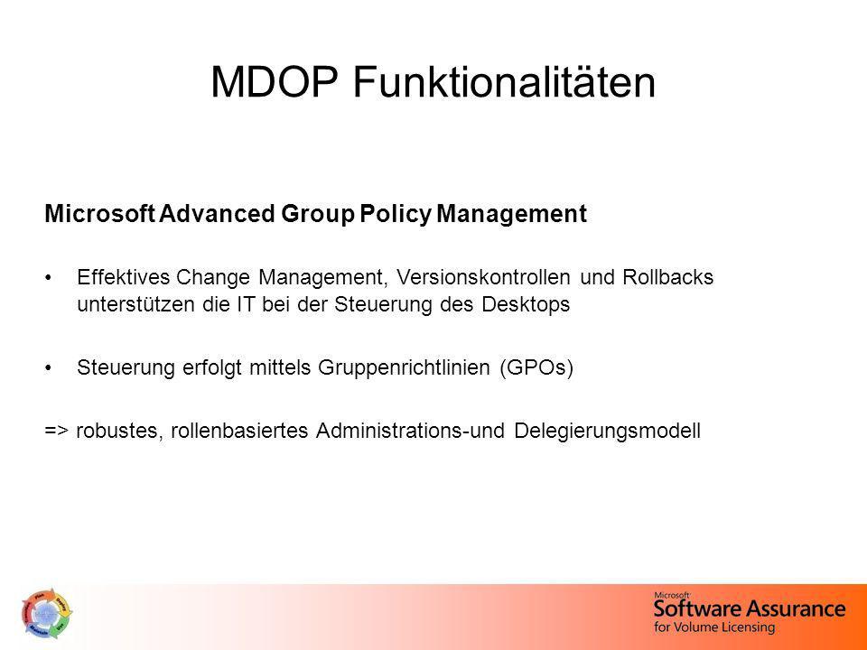 MDOP Funktionalitäten Microsoft Advanced Group Policy Management Effektives Change Management, Versionskontrollen und Rollbacks unterstützen die IT be