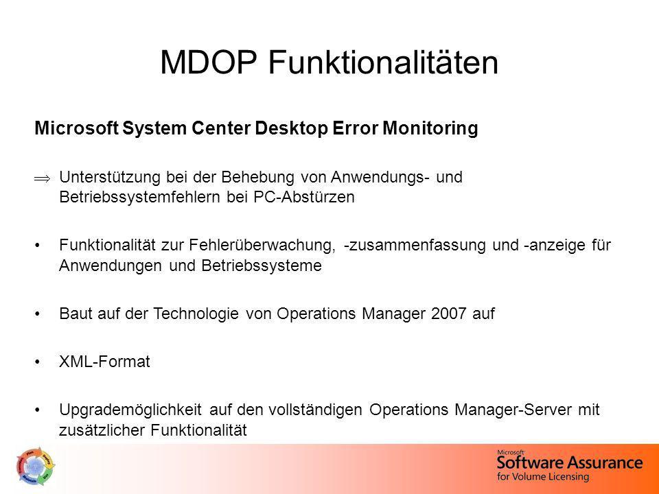 MDOP Funktionalitäten Microsoft System Center Desktop Error Monitoring Unterstützung bei der Behebung von Anwendungs- und Betriebssystemfehlern bei PC