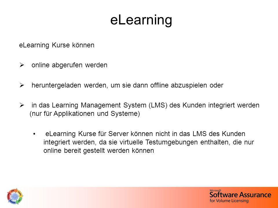 eLearning eLearning Kurse können online abgerufen werden heruntergeladen werden, um sie dann offline abzuspielen oder in das Learning Management Syste