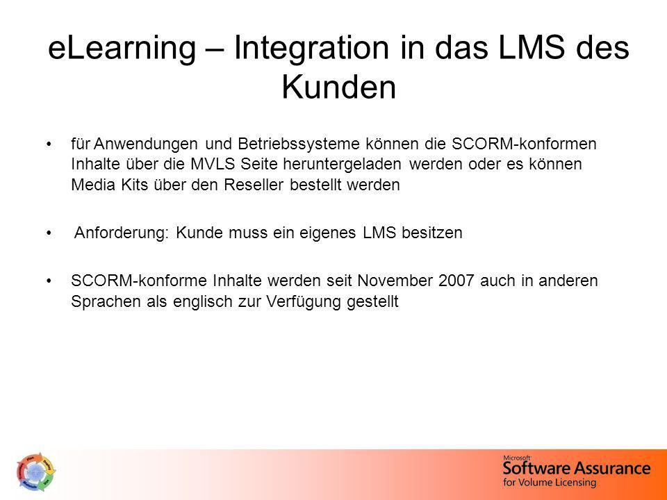 eLearning – Integration in das LMS des Kunden für Anwendungen und Betriebssysteme können die SCORM-konformen Inhalte über die MVLS Seite heruntergelad